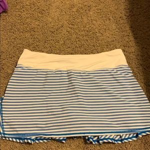 Blue and white striped lululemon skirt